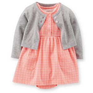 Baby Girl Gray Cardigan & Neon Pink Dress Set